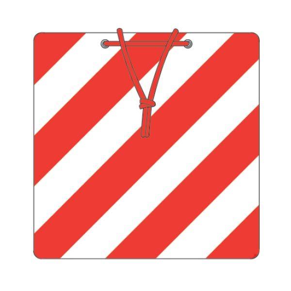 ADR ΠΙΝΑΚΙΔΑ ΑΝΤΑΝΑΚΛΑΣΤΙΚΗ ΚΟΚΚΙΝΗ/ΛΕΥΚΗ ΜΕ ΚΟΡΔΟΝΙ 50x50cm